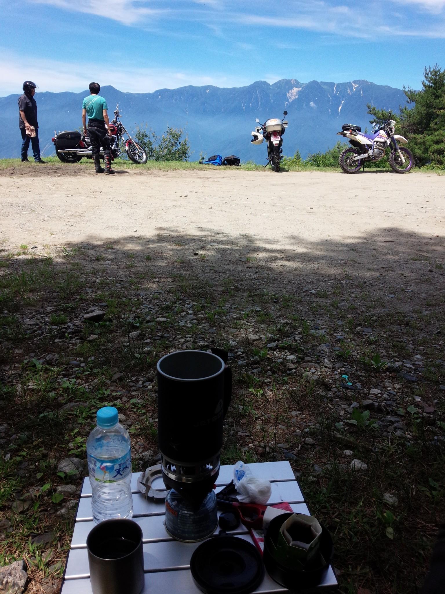陣馬形山でコーヒータイム
